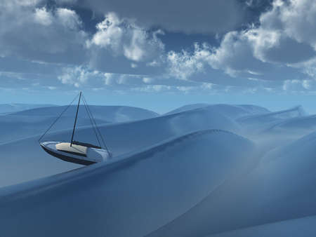 amongst: Small boat amongst waves Stock Photo