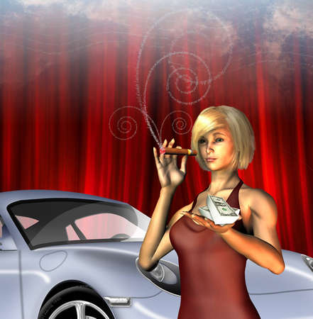 Wealthy Girl with sports car smoking cigar with text for smoke photo