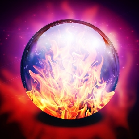 foretell: Fire in diviners sphere Stock Photo
