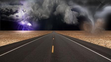birds desert: Tornado funnel in desert road landscape