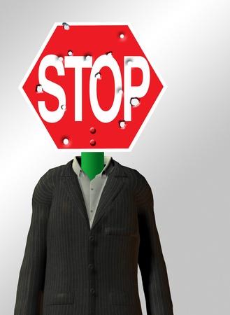headed: Stop sign Headed Figure Stock Photo