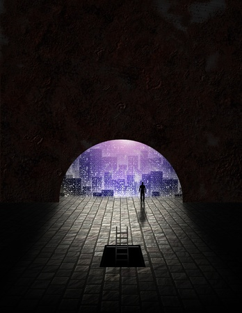 dystopia: City seen from tunnel opening Stock Photo