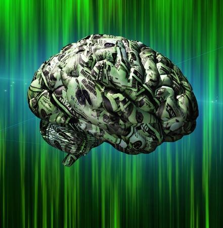 Brain složený z amerického měny Reklamní fotografie
