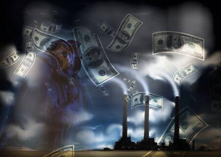 desechos toxicos: Grunge Paisaje con fábrica y de divisas Foto de archivo