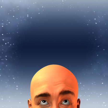 man looking at sky: Man looking up at sky Stock Photo
