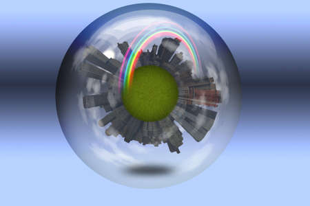 Sphere enclosed green city planet photo