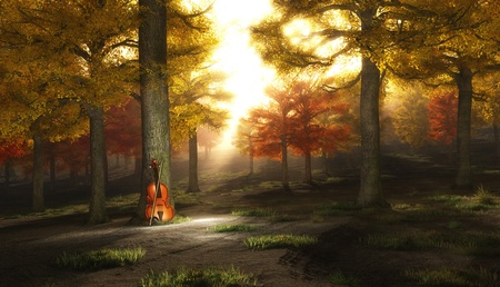 fiddles: Violin in autumnal park