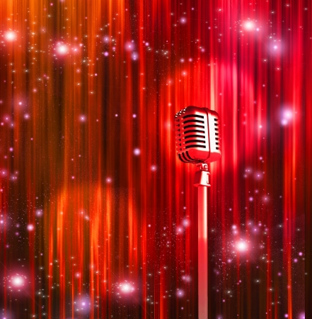 retro microphone: Classic Microphone with Colorful Curtains Editorial