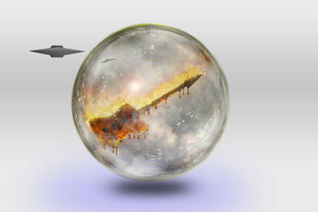 melodious: Flaming Guitar Inside Crystal Sphere and Space Ship