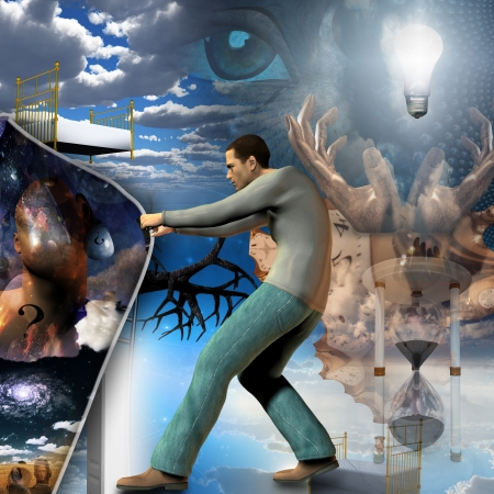 heavens gates: Man pulls back curtain of reality Stock Photo