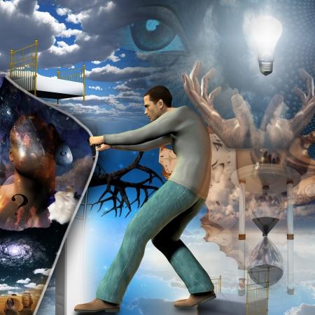 er�ffnung: Man zieht sich zur�ck Vorhang der Wirklichkeit Lizenzfreie Bilder