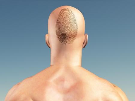 Man with fingerprint on head photo