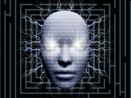 vision futuro: la cara surrealista con el texto