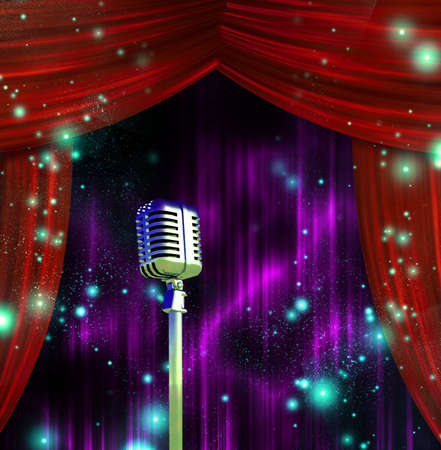 concert audience: Classic Microphone with Colorful Curtains Stock Photo