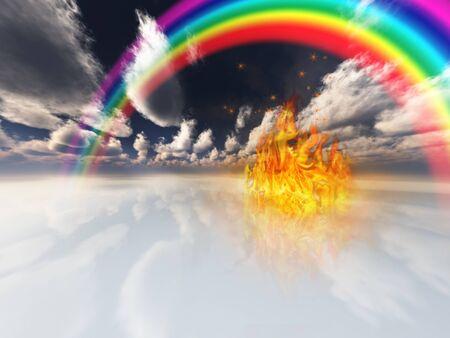 regenboog en brand in surrealistische ruimte