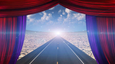 window open: Curtain opens onto roadway and pinpoint of light Stock Photo