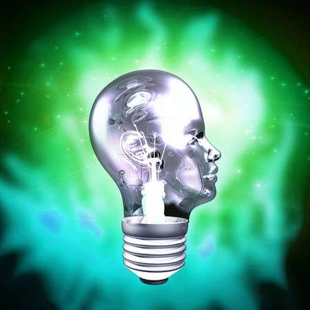 head light: Cabeza humana Bombilla Foto de archivo