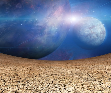 futuristic nature: Planets and cracked earth Stock Photo