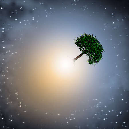 cosmology: Light and earth elements Stock Photo