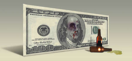 US Hundred Dollar bill with Drunken Ben Franklin