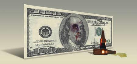 financial burden: US Hundred Dollar bill with Drunken Ben Franklin
