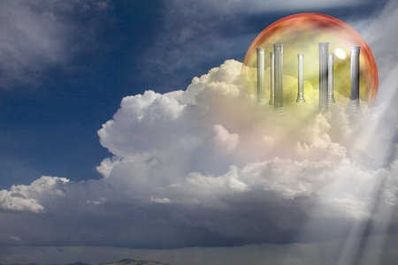 illusionary: Greek Columns on clouds Stock Photo