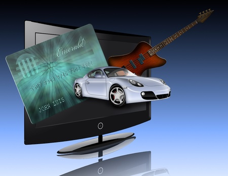 Credit card, car, flat panel and guitar all items are not actual items but are illustrated photo
