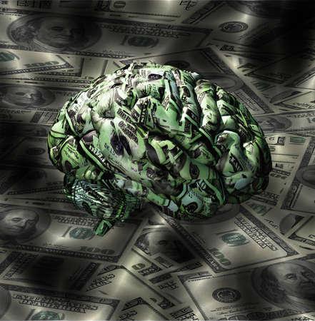 Cerveau en tête composé de Devise des États-Unis Banque d'images
