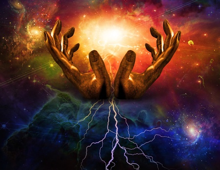 Hands and lightning photo