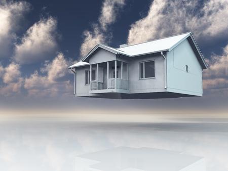 Home floating in dream like landscape