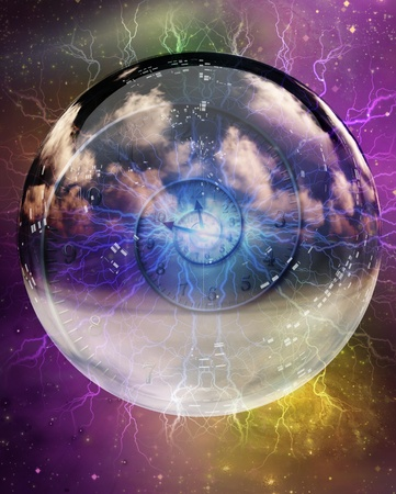 Spiral of time enclosed in crystal sphere photo