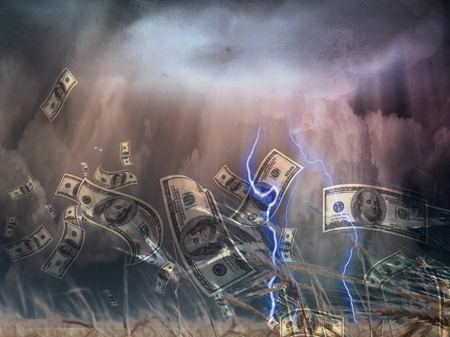 storm rain: Violent storm and US Currency