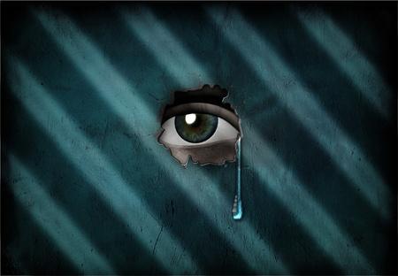 esquizofrenia: Pares de ojos a través de la pared, con lágrimas