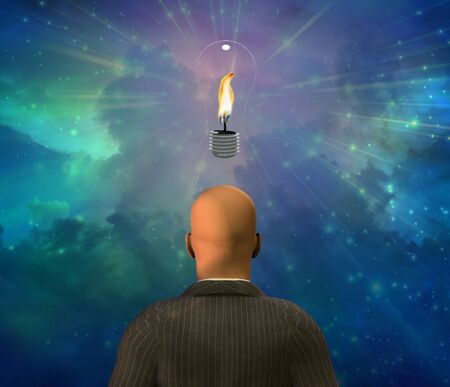 human energy: Light Bulb with Flame Stock Photo