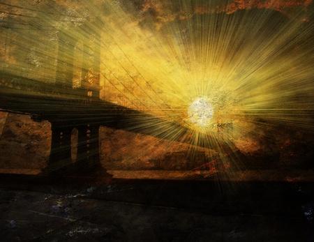 manhattan bridge: Bridge Sunrise Stock Photo