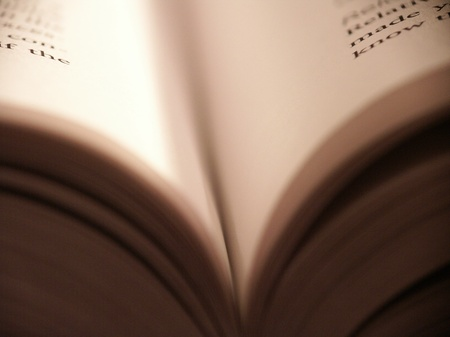 Shallow focus opened book