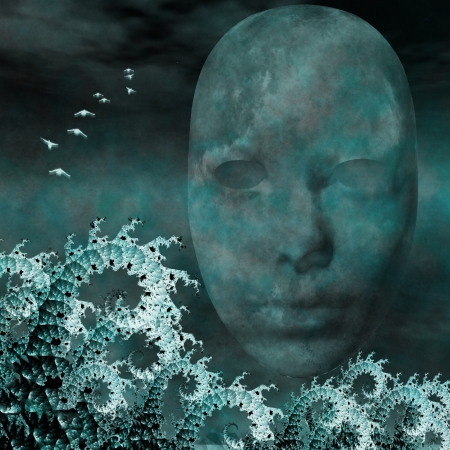 Surreal Mask and fractals as ocean waves photo