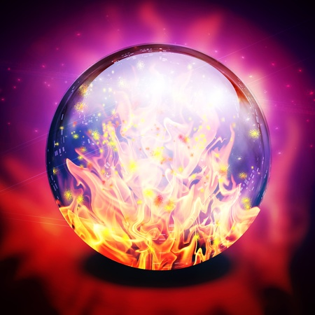 Fire in diviners sphere Stock Photo
