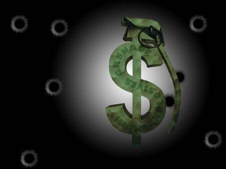 cold war: USA Dollar Grenade Abstract