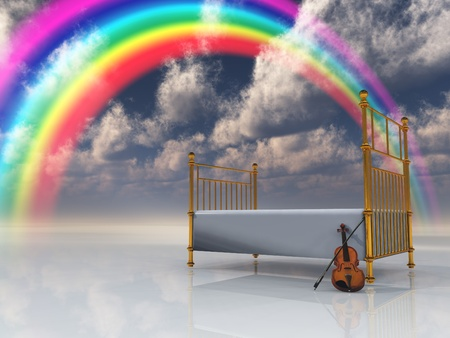 Bed with violin and rainbow in surreal scene photo