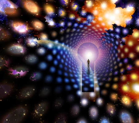 meditation man: Man before giant keyhole in space abstract Stock Photo