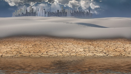 City in desert distance with water photo