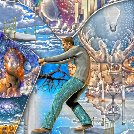 Man pulls back curtain of reality Imagens
