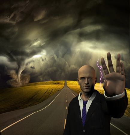 Man puts hand out to stop before tornado and storm