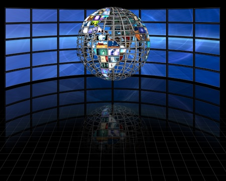 movie screen: Planet earth sphere of video screens Stock Photo