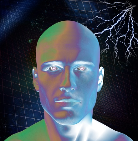 android: Energy surrounds and strikes man