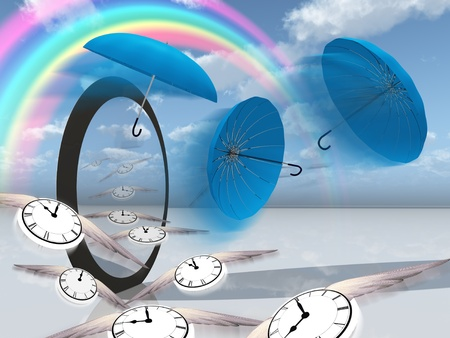 time fly: winged clock fly into the strange scene Stock Photo