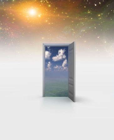 Doorway in serene space opens into other realm photo
