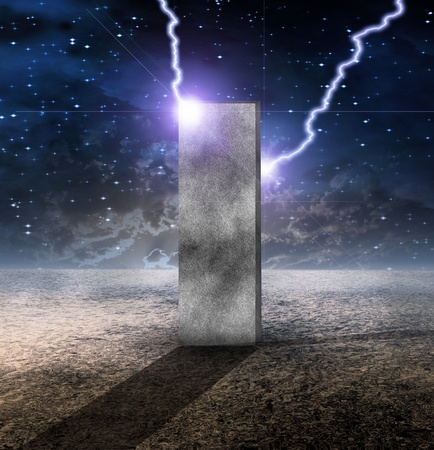 Strange Monolith on Lifeless Planet Stock Photo - 13273990