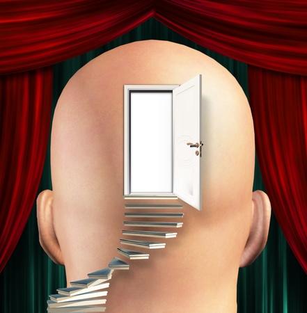 wahrnehmung: Treppen f�hren zu T�r in den Sinn Lizenzfreie Bilder
